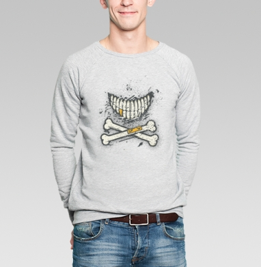 Костяная улыбка (гранж версия) - Купить мужские свитшоты с черепом в Москве, цена мужских  с черепом  с прикольными принтами - магазин дизайнерской одежды MaryJane
