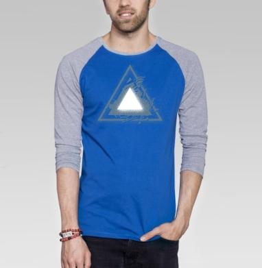 Треугольник света - Футболка мужская с длинным рукавом синий / серый меланж, геометрия, Популярные