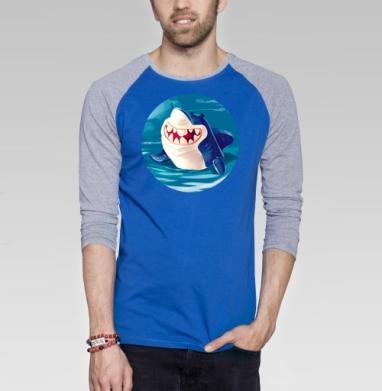 Акуль - Футболка мужская с длинным рукавом синий / серый меланж, Улыбка