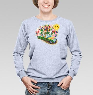 Веселая поездка - Купить женские свитшоты с автомобилями в Москве, цена женских свитшотов с автомобилями  с прикольными принтами - магазин дизайнерской одежды MaryJane