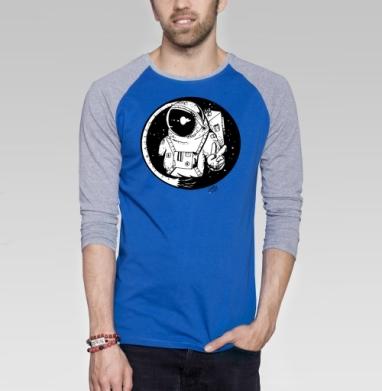 Мирный астронавт - Футболка мужская с длинным рукавом синий / серый меланж, космос, Популярные