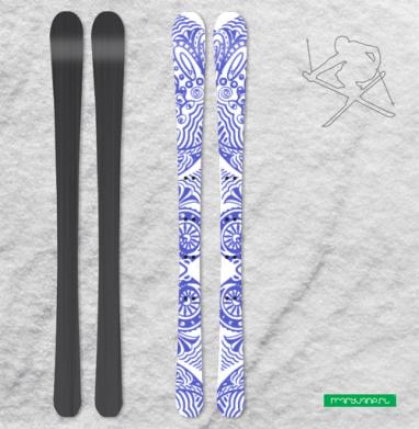 Совы и зайка - Наклейки на лыжи
