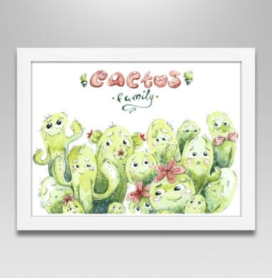 Семейка кактусов - Постер в белой раме, растение