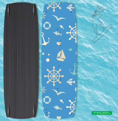 Морской узор на синем фоне - Наклейки на кайтсерфинг/вэйк