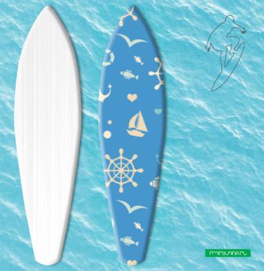 Морской узор на синем фоне - Наклейки на серф