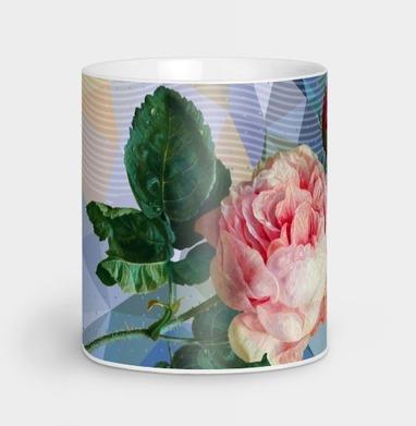 Розовая роза на геометрическом фоне - геометрия, Новинки