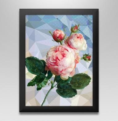 Розовая роза на геометрическом фоне, Постер в чёрной раме