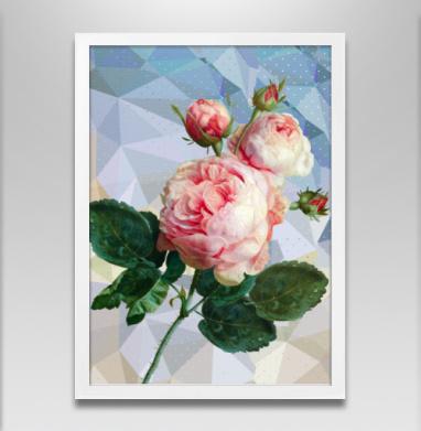 Розовая роза на геометрическом фоне - Постер в белой раме, геометрия