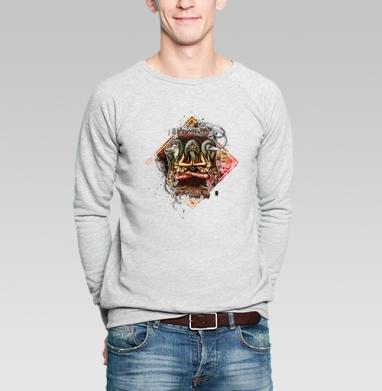 Шаман с тотемными животными - Купить мужские свитшоты с волками в Москве, цена мужских свитшотов с волками  с прикольными принтами - магазин дизайнерской одежды MaryJane