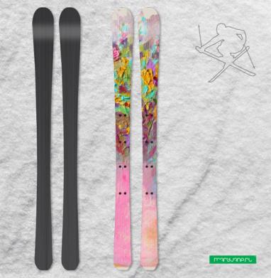 Цветы маслом - Наклейки на лыжи