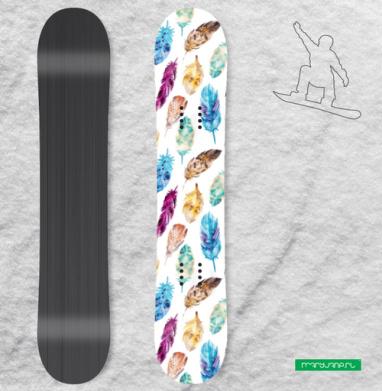 Перья акварелью - Наклейки на доски - сноуборд, скейтборд, лыжи, кайтсерфинг, вэйк, серф
