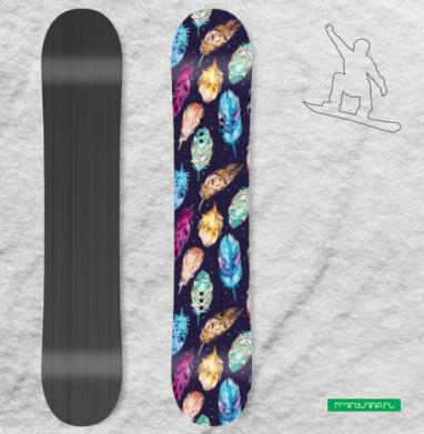 Темные акварельные перья - Наклейки на доски - сноуборд, скейтборд, лыжи, кайтсерфинг, вэйк, серф