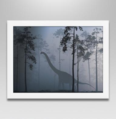 Прогулка с динозавром - Постер в белой раме