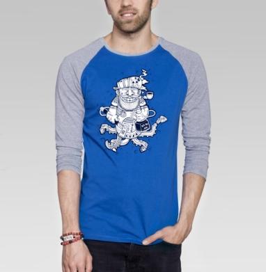 Кок - Футболка мужская с длинным рукавом синий / серый меланж, борода, Популярные