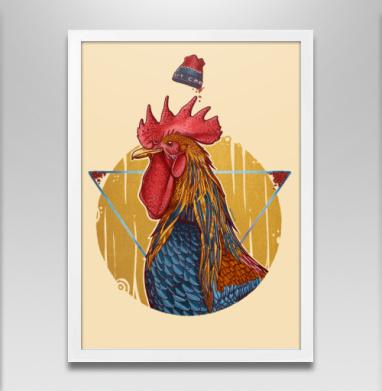 Петух в петушке - Постер в белой раме