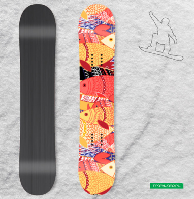 Стаи рыб - Наклейки на доски - сноуборд, скейтборд, лыжи, кайтсерфинг, вэйк, серф