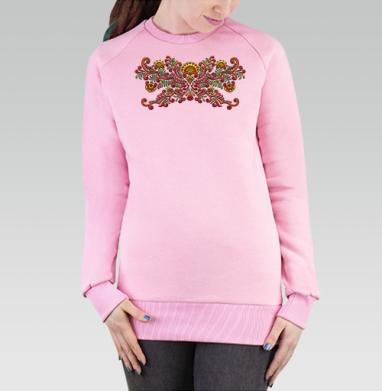 Cвитшот женский розовый  320гр, стандарт - Цветочный мотив