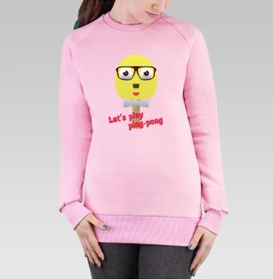 Cвитшот женский, толстовка без капюшона розовый - Пинг-понг