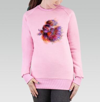 Cвитшот женский розовый  320гр, стандарт - Рыба-птица