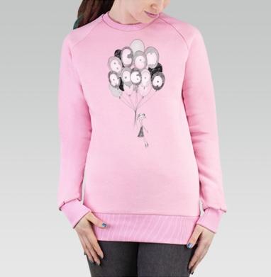 Cвитшот женский, толстовка без капюшона розовый - Всем добра! #4