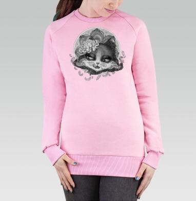 Cвитшот женский розовый  320гр, стандарт - Кошка  артнуво