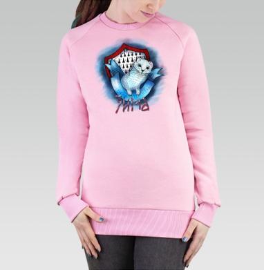 Cвитшот женский розовый  320гр, стандарт - горностаюшка