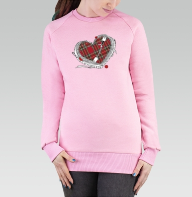 Cвитшот женский, толстовка без капюшона розовый - пришитое сердце