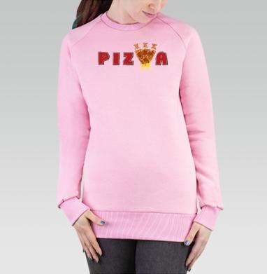 Cвитшот женский розовый  320гр, начес - ПИЦЦА-ХХХ
