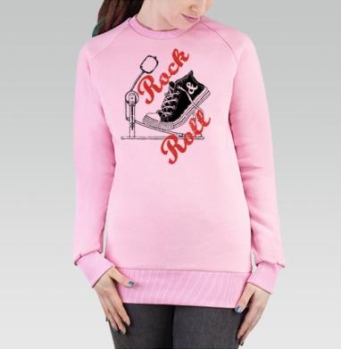 Cвитшот женский розовый  320гр, стандарт - Рок н ролл