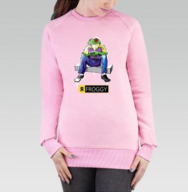 Cвитшот женский розовый  320гр, начес - Froggy