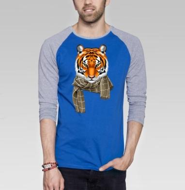 Тигр в городе - Футболка мужская с длинным рукавом синий / серый меланж, нежность, Популярные