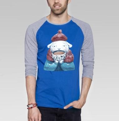 Роб и какао - Футболка мужская с длинным рукавом синий / серый меланж, Мило