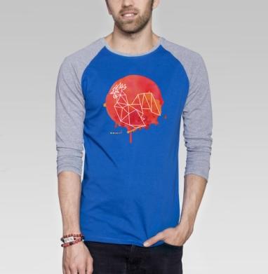 Огненный петух  - Футболка мужская с длинным рукавом синий / серый меланж, Символ