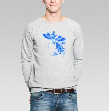 Синяя птица удачи в стиле гжельской росписи - Купить мужские свитшоты этно в Москве, цена мужских свитшотов этно  с прикольными принтами - магазин дизайнерской одежды MaryJane