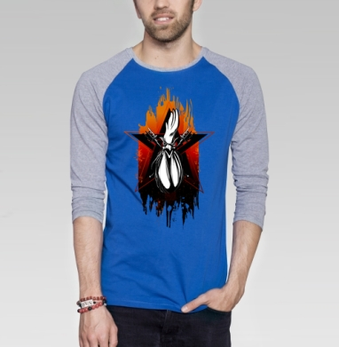 Горячий петушок - Футболка мужская с длинным рукавом синий / серый меланж, новый год, Популярные
