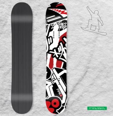 Чёрное красное белое - Наклейки на доски - сноуборд, скейтборд, лыжи, кайтсерфинг, вэйк, серф
