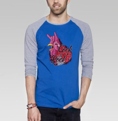 Петух и рок - Футболка мужская с длинным рукавом синий / серый меланж, мода, Популярные