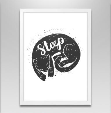 Спящий котэ - Постер в белой раме, english
