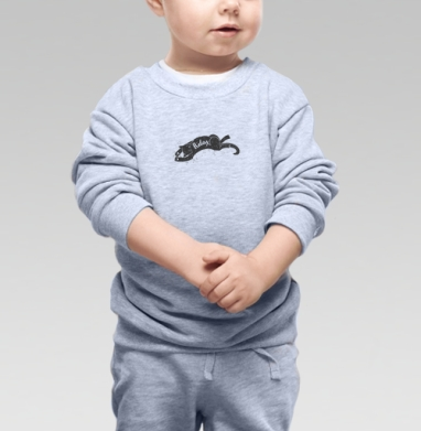 Cвитшот Детский серый меланж - Релакс котик