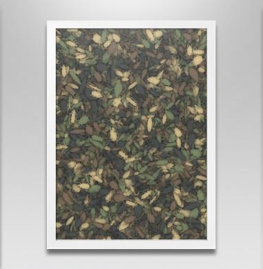 Камуфляж с насекомыми - Постер в белой раме, паттерн
