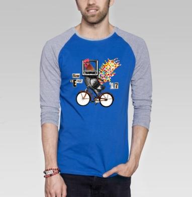 Велоретропетух - Футболка мужская с длинным рукавом синий / серый меланж, велосипед, Популярные