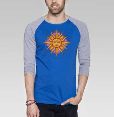 Солнце Сурья - Футболка мужская с длинным рукавом синий / серый меланж, лицо, Популярные