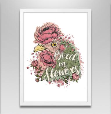 Курочка в цветах - Постеры, птицы, Популярные