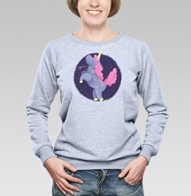 Ежевичный Единорог, Cвитшот женский, толстовка без капюшона  серый меланж