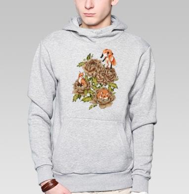 Цветочные лисы, Толстовка мужская, накладной карман серый меланж