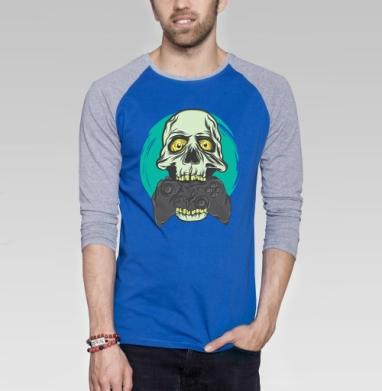 Геймер - Футболка мужская с длинным рукавом синий / серый меланж, череп, Популярные