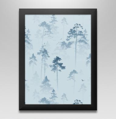 Лес. Туман, Постер в чёрной раме