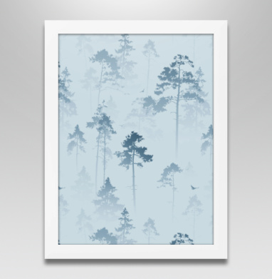 Лес. Туман, Постер в белой раме