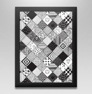 Расписные квадраты, Постер в чёрной раме