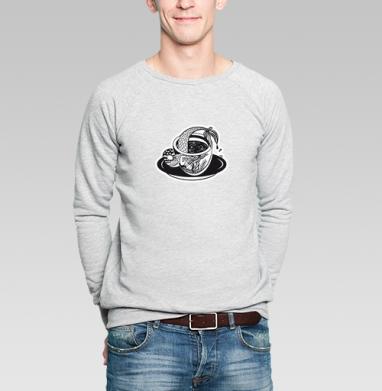 Русалка в чашке - Купить мужские свитшоты с рыбой в Москве, цена мужских  с рыбой  с прикольными принтами - магазин дизайнерской одежды MaryJane